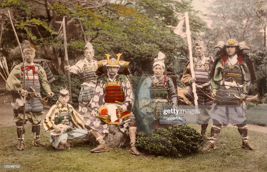 A group of Samurai or Japanese warriors with their ancient arms ...