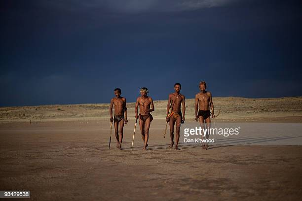 A group of San Bushmen from the Khomani San community practice their huntergatherer craft in the Southern Kalahari desert on October 15 2009 in the...