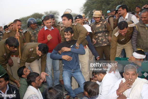 A group of sarpanches some of the Jat youths who have remained in jail in connection with the last years quota stir and other community leaders...