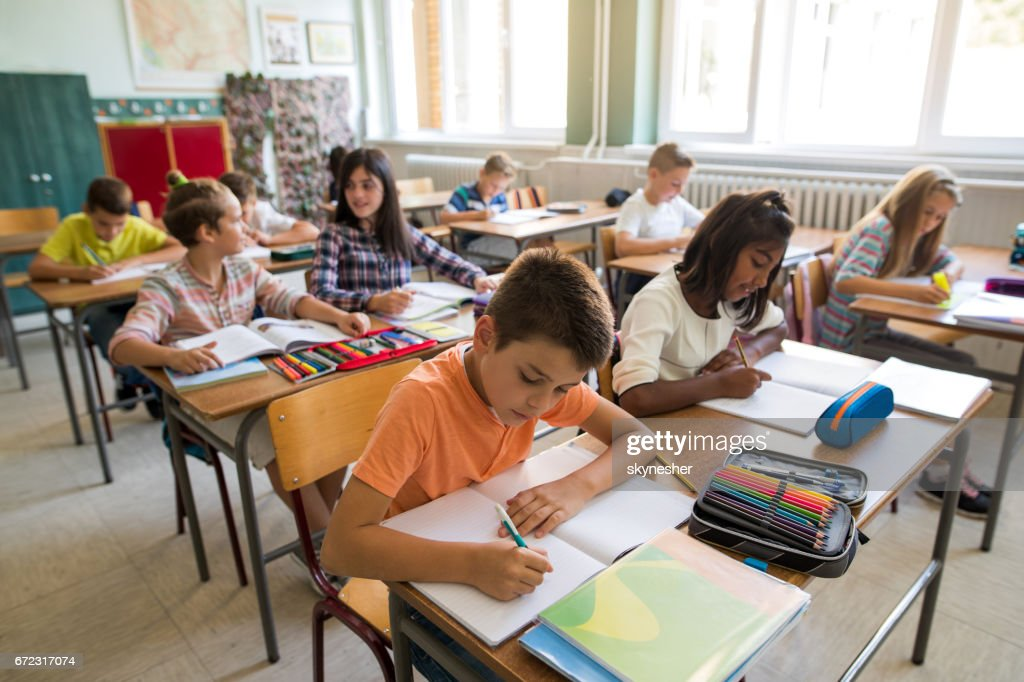 Group of school children studying in the classroom. : Stock Photo