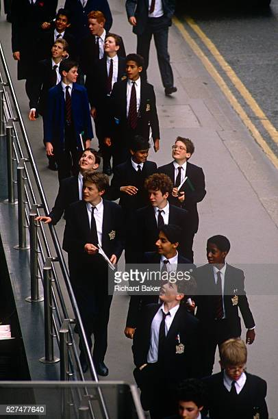A group of schoolboys from the City of London school in central London visit a financial institution as part of their education course work Wearing...