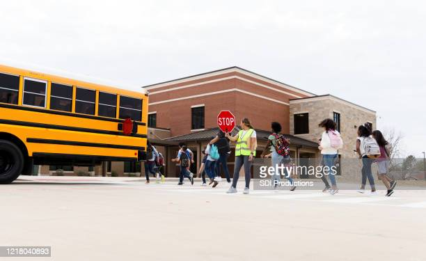 group of schoolchildren on crosswalk - state school stock pictures, royalty-free photos & images