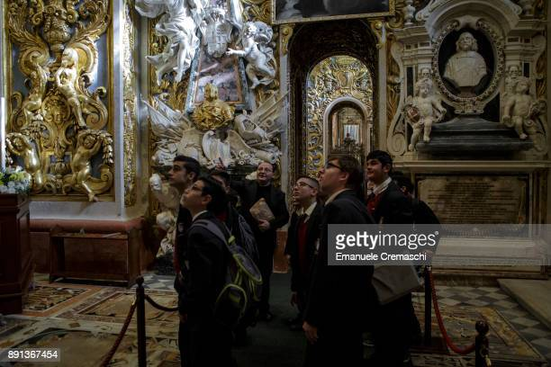 A group of schoolchildren visit the St John's CoCathedral one of the finest examples of Baroque architecture on December 7 2017 in Valletta Malta...