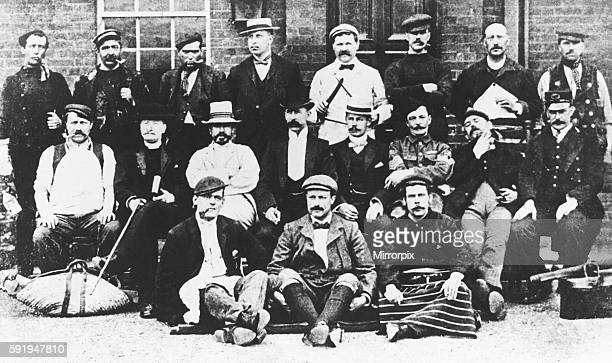 Group of Scotland Yard detectives in various disguises seen here before setting out on a special observation mission which resulted in the important...