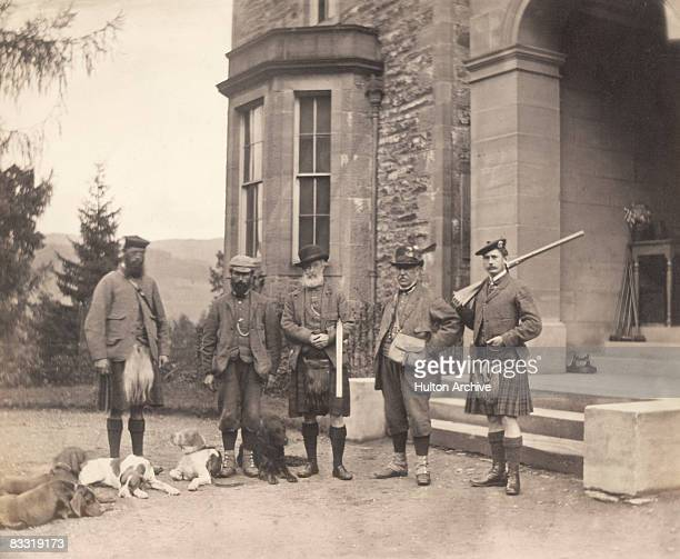 A group of Scottish men about to set out on a deerhunting expedition in Perthshire Scotland 1869
