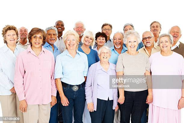 Group of senior people against white background