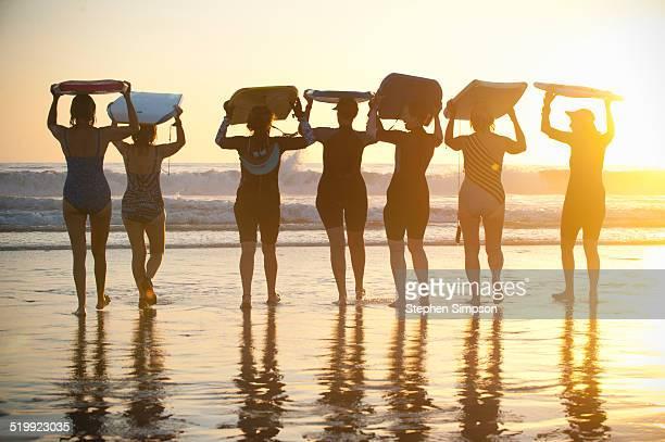 group of senior women at the beach, sunset