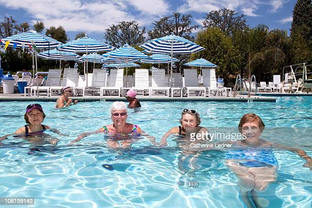 Group of senior women in the pool