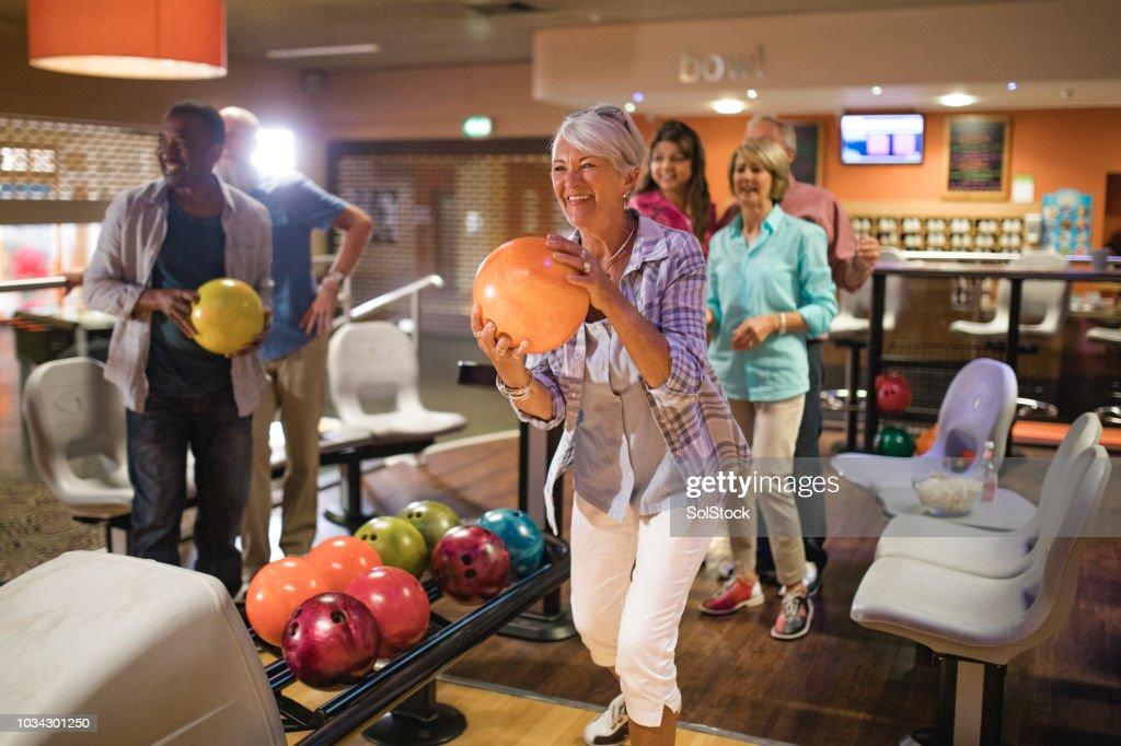 Group of Seniors Bowling : Stock Photo