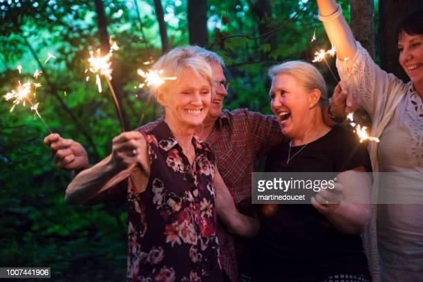 Group of seniors lighting sparklers in nature at dusk.