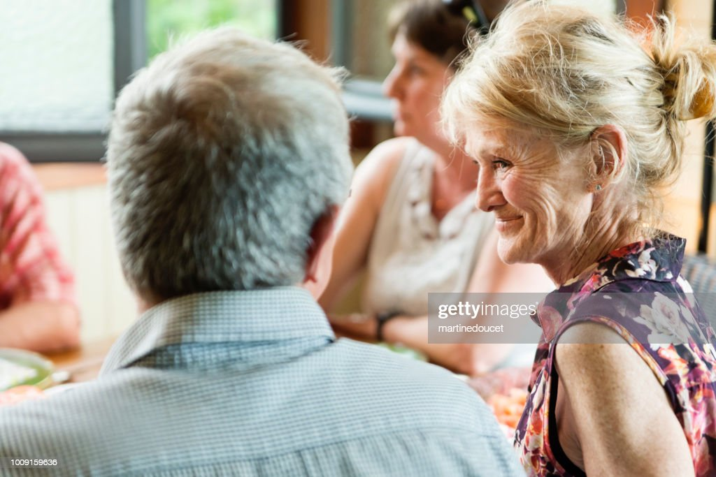 Group of seniors people sitting and talking. : Stock Photo