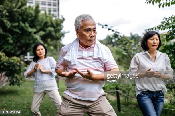 Group of seniors taking tai chi class