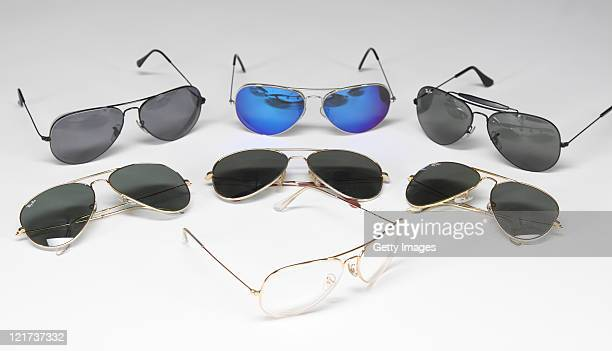 6140f1cc325bd4 A group of seven Tony Curtis RayBan aviator sunglasses is seen in a  photograph for the