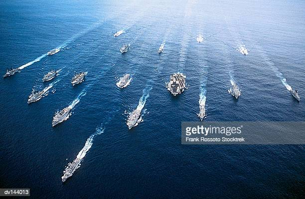 group of ships in persian gulf, including uss john f kennedy (cv-67) aircraft carrier - warship stock pictures, royalty-free photos & images