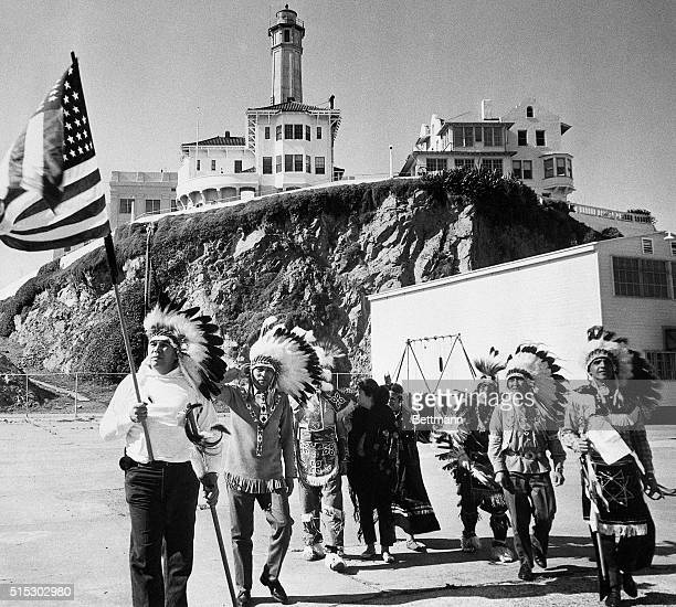 A group of Sioux Indians protest at Alcatraz in an attempt to claim the land under the allowances provided in an 1868 treaty with the US government