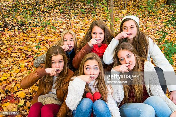 Group of six girls for Movember!
