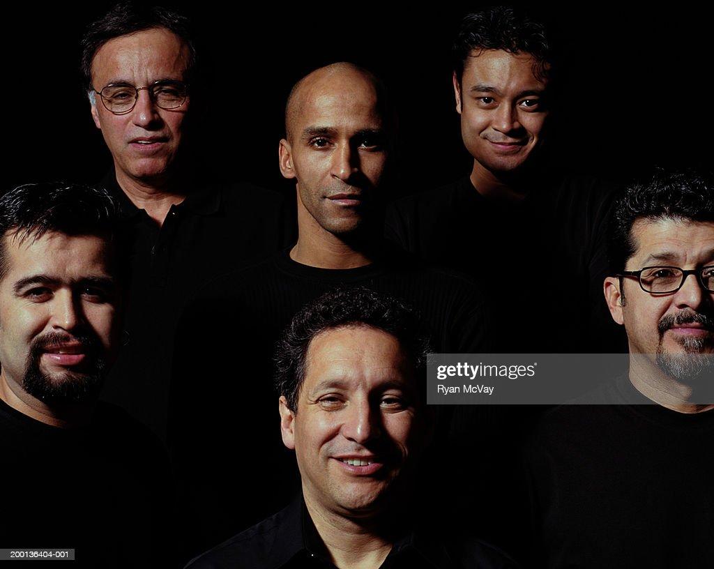 Group of six men, portrait : Stock Photo