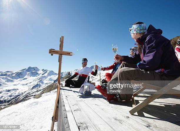 Group of Skier relaxing in sun chair