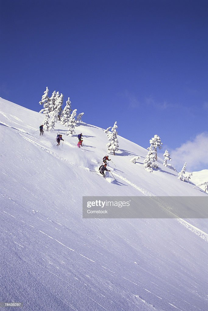 Group of skiers at Eagle Crest ski area , Juneau , Alaska : Stockfoto