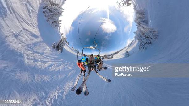 group of skiers doing a selfie on a cable car - 360 degree view stock pictures, royalty-free photos & images
