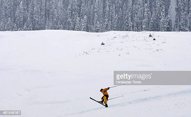 A group of skiers enjoying heavy snow at world famous ski resort Gulmarg some 55 kms from Srinagar India Srinagar experienced about two inches of...