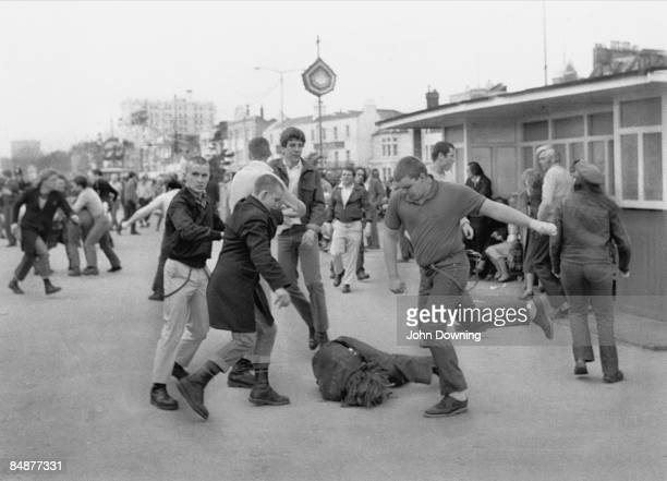 A group of skinheads on the attack during a bank holiday weekend in Southend 7th April 1980
