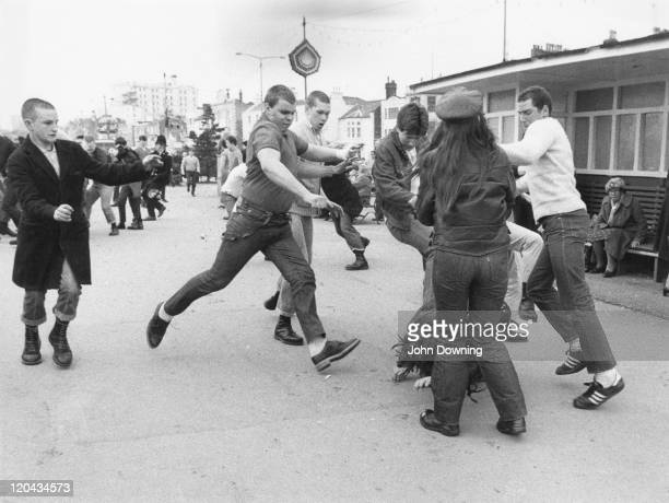 A group of skinheads on the attack in SouthendonSea Essex 7th April 1980