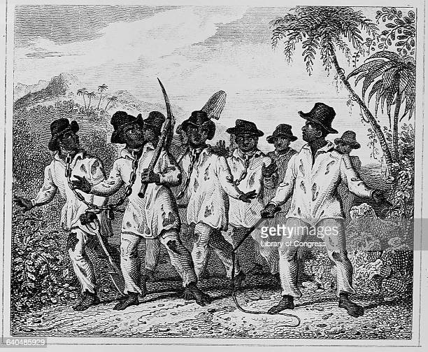 A group of slaves chained at the neck walk along a road carrying picks and shovels passing under the watchful eye of a man carrying a whip