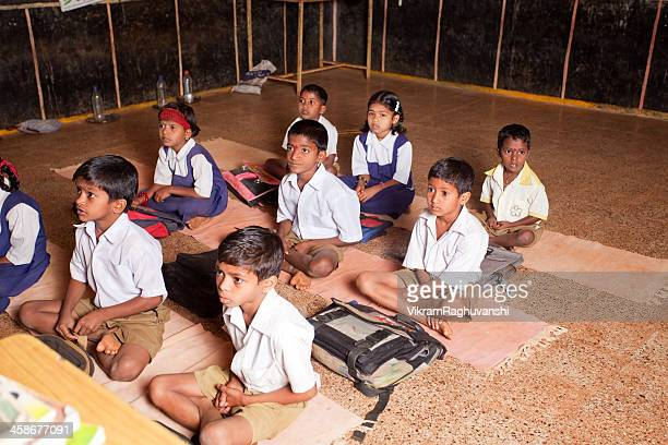 Group of small Indian children in a Rural School Classroom