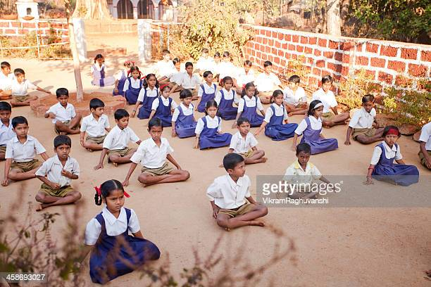 Group of small Indian children in a Rural School