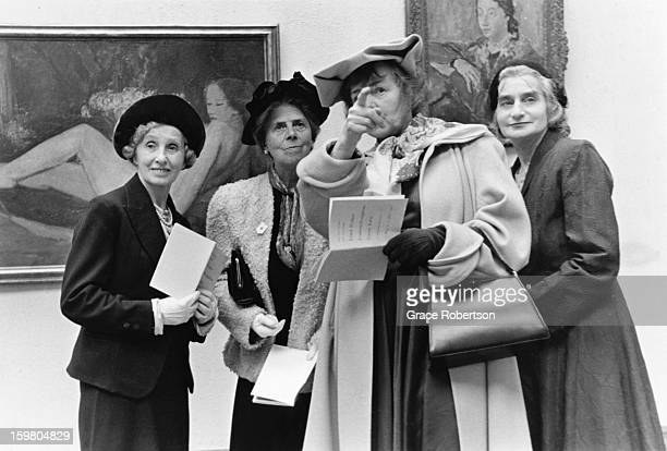 A group of smartly dressed women visiting the Tate Gallery in London now Tate Britain 1957 Original Publication Picture Post 9112 Tate Gallery unpub