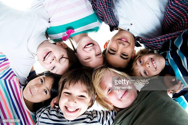 Group of smiling multi ethnic children