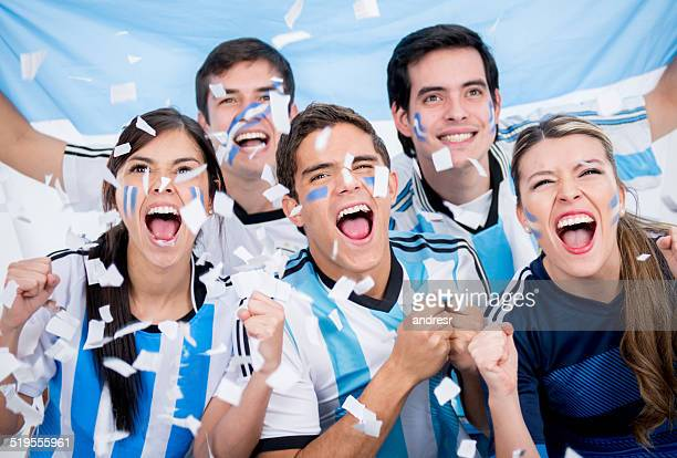 Group of soccer fans