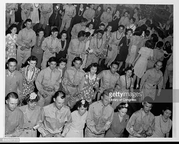 Group of soldiers at Camp Shelby, Mississippi, from the 442nd Infantry Regiment, composed of Japanese-American volunteers from the internment camps,...