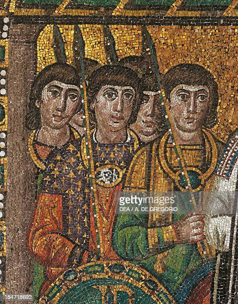 Group of soldiers detail from Emperor Justinian and his entourage mosaic northern wall of the apse Basilica of San Vitale Ravenna EmiliaRomagna Italy...