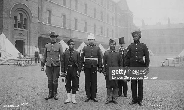 A group of soldiers from various British colonial regiments at Chelsea Barracks in London prior to Queen Victoria's Diamond Jubilee celebrations June...