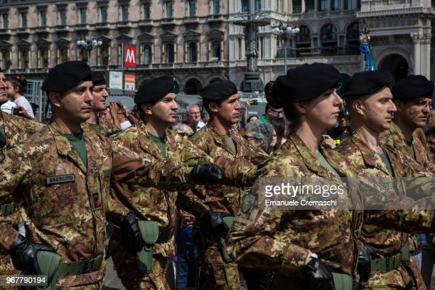A group of soldiers of the Italian Army parade during the celebrations of the Italian National Day on June 02 2018 in Milan Italy The Festa della...