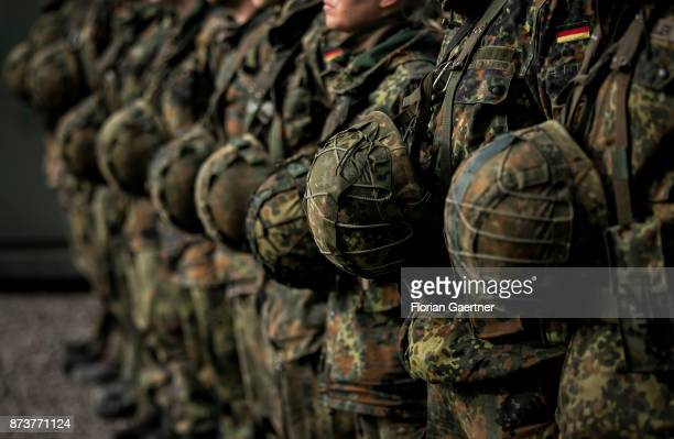 A group of soldiers stands in a row Shot during an exercise of the land forces on October 13 2017 in Munster Germany