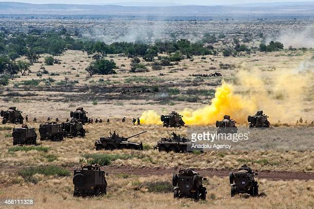 A group of South African army members participate with military hardware in a military exercise called exercise Seboka in Northern Cape South Africa...