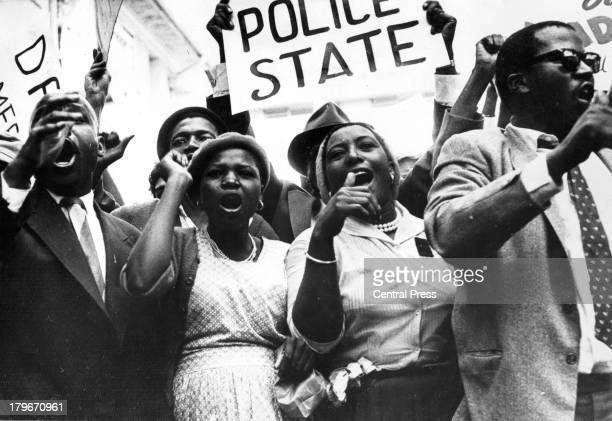 A group of South Africans demonstrate outside Dag Hammarskjöld's Hotel in Pretoria South Africa 1961