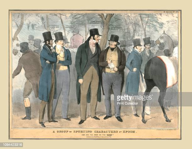 A Group of Sporting Characters at Epsom How are the odds on the Derby' circa 1832 Political satire depicting British politicians at Epsom races...
