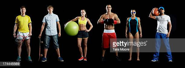 group of sports people in line - middelgrote groep mensen stockfoto's en -beelden
