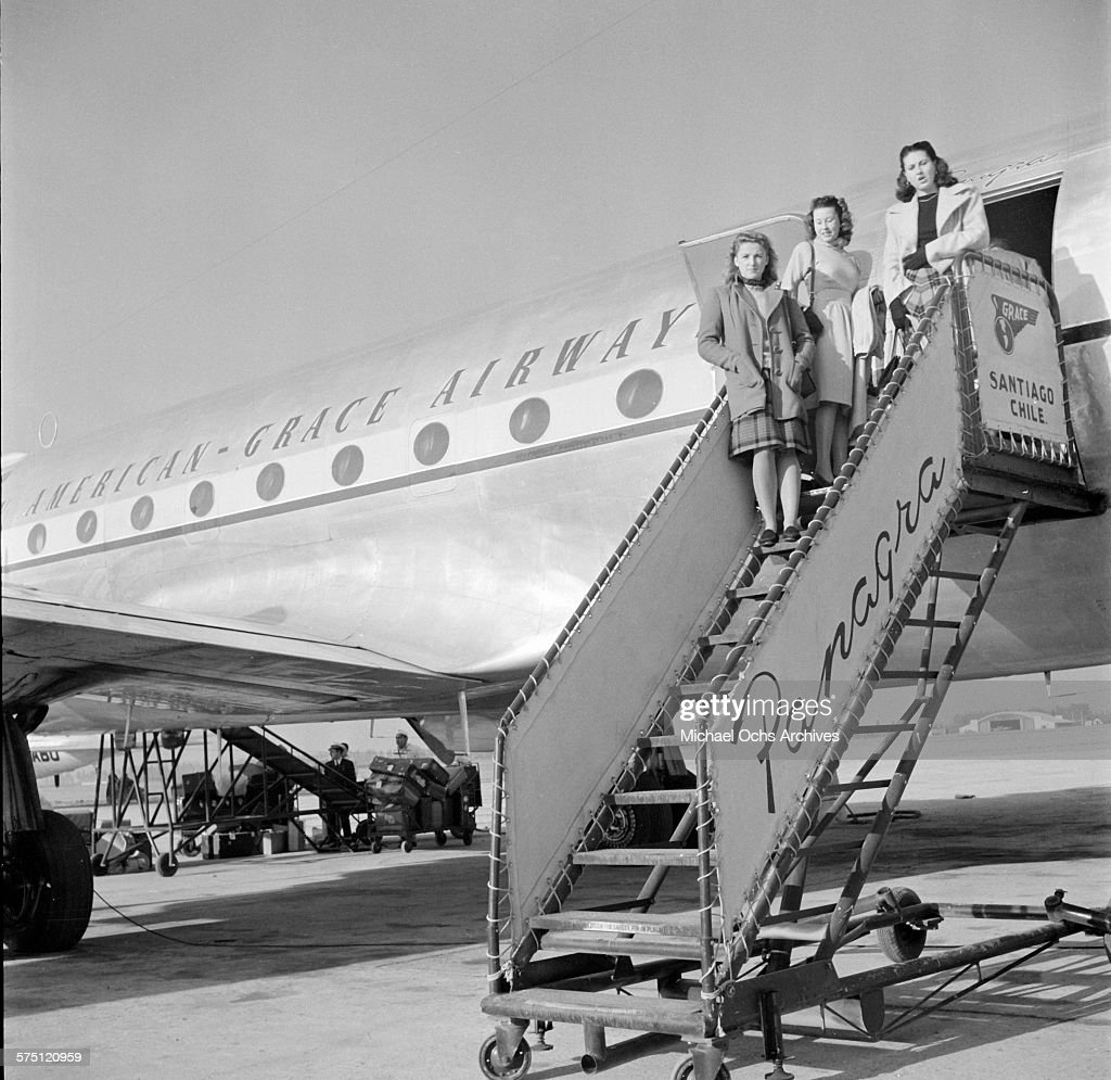 A Group Of Stewardesses Pose On The Panagra Stairs For The Pan American  Grace Airways DC