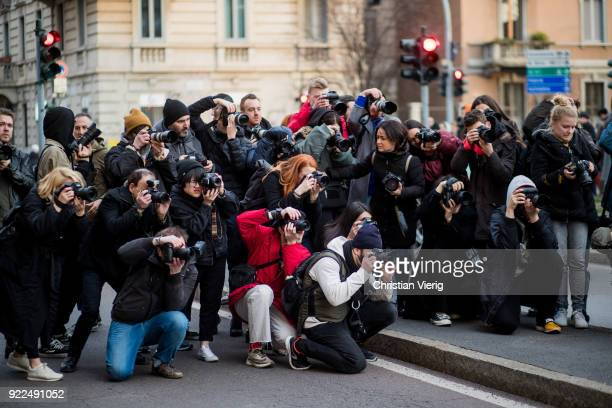 Group of street style photographers seen outside Alberta Ferretti during Milan Fashion Week Fall/Winter 2018/19 on February 21 2018 in Milan Italy
