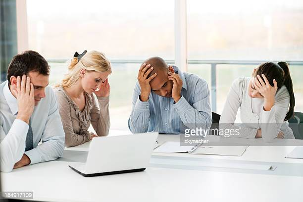 group of stressful businesspeople having problems. - frustratie stockfoto's en -beelden