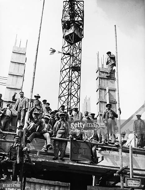 Group of striking French construction workers at Porte de Versailles, France. | Location: Porte de Versialles, France.