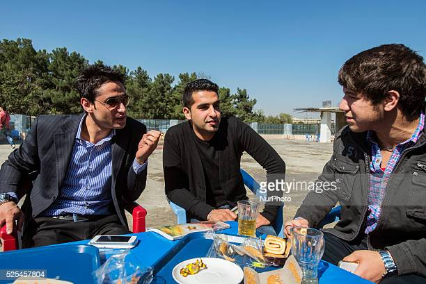 Group of students have a break in student's cafe of Mashal institute of higher education Kabul Afghanistan Since 2002 the end of Taliban era in...