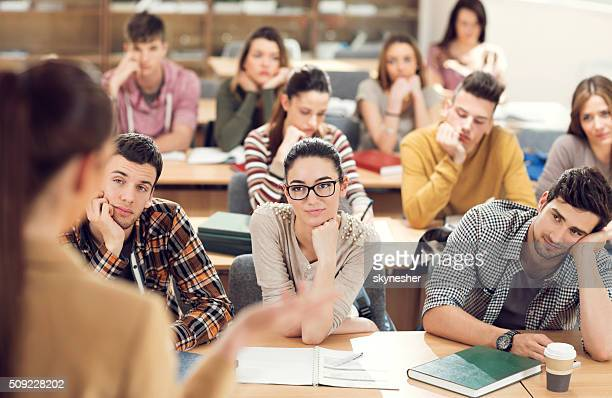 Group of students having a class.