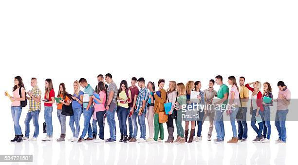 Group of students in a line.