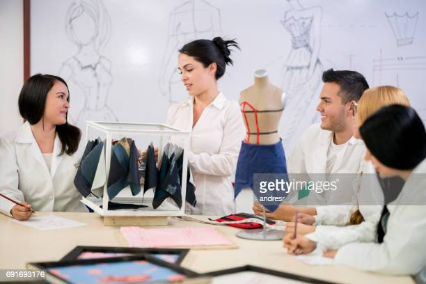 Group of students in class at a fashion design school